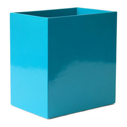 """Jonathan Adler - Jonathan Adler Lacquer Waste Basket Blue - Final Sale - Jonathan Adler's modern waste basket energizes contemporary bathrooms. In a glossy blue lacquer finish, this rectangular resin bin offers practical style. 9.25""""W x 6.25""""D x 10""""H; Hand-poured lacquer; High gloss clear coat"""