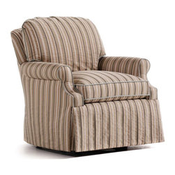 """Jessica Charles - Trisha Swivel Rocker - Debro Cranberry Fabric - Handmade in North Carolina using local, sustainable hardwood.  Artisan upholstery and custom fit cushions.  Eight-way hand tied coils.  Spring Plush seat cushion consists of a Marshall unit core made of individually pocketed coil springs surrounded by an ultracell foam box which is then completely wrapped in a thick layer of comfort bond fiber and covered in ticking.  Back cushion is made up of 2"""" hollow polyester fibers that are siliconized to cut down on friction between fibers, thus reducing clumping and matting.  Arm caps included."""