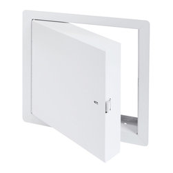 """Best Access Doors - 24"""" x 36"""" - Fire Rated Insulated Access Door with Flange - 24"""" x 36"""" - Fire Rated Insulated Access Door with Flange. BA-PFI access Hatch is  insulated with 2""""   thick mineral wool and can be used on fire rated walls and ceilings. It comes with a 1""""   flange for an easy flush installation on any type of surface. As per  UL and  NFPA standards, once the installation is complete and the provided springs are hooked to the back of the panel, the door will be self closing and self locking. The largest fire rated PFI doors available for vertical and horizontal installations with temperature rise are respectively: (48""""   x 48""""  ) and (24""""   x 36""""   or 864 sq inches).   BA-PFI fire rated access Panel specifications,  Material: 16 gauge cold rolled steel frame and 20 gauge galvanneal steel door Insulation: 2"""" mineral wool Hinge: Continuous piano hinge Lock / latch: Self latching tool-key operated slam latch and/or ring operated slam latch, both included Inside panel release: Included on all slam latch fire doors Automatic panel closer: Standard on all doors Finish: DuPont high quality white powder coat . Fire Rating:     For installation in  vertical wall assemblies: Rating 1 1/2 hours. Temperature rise: 250 deg F (139 deg C) at 30 mins and 450 deg F (250 deg C) at 60 mins. Maximum door size of 48"""" x 48"""".  Rating 3 hours. Temperature rise: 400 deg F at 60 mins. Maximum door size of 48"""" x 48"""".   For installation in  horizontal ceiling assemblies: With temperature rise: Rating 3 hours for non-cumbustible assembly and 1 hour for combustible assembly: Temperature rise: Max 250 deg F (139 deg C) at 30 mins, 450 deg F (250 deg C) at 60 mins.  Without temperature rise: Rating: 3 hours for non-combustible assembly and 1 hour for combustible assembly.   Standards listed:   NFPA 252-2003, UL 10(b), UL 555, CAN/ULC S112 M90-R2001, CAN/ULC S104-10. MEA # 507-06-M Fire rated by  Intertek - Warnock Hersey"""