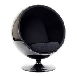 Modern black ball shaped lounge chair inspired by Eero Aarnio design - Modern black ball shaped lounge chair is inspired by famous plastic furniture design by Eero Aarnio. The inside seating area is upholstered with a high quality comfortable black fabric. The shell and swivel base are made of glossy black fiberglass.