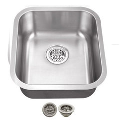 Schon - Schon 18-Gauge 16 1/8 x 18 Bar Sink - SCSBMB18 18 Gauge Schon Bar Sink Stainless Steel Single Bowl 16 3/16 x 18 w/Strainer