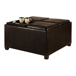 Convenience Concepts - Convenience Concepts Ottoman X-330341 - The Designs4Comfort Times Square Ottoman with 4 tray tops is a piece that can be used as a coffee table, storage or even added seating to any room setting! Featuring four removable tops that turns into an easy to clean serving tray! Perfect for those cozy nights at home infront of the TV with drinks and snacks! Underneath the trays, there is plenty storage space to keep a clutter free living enviroment
