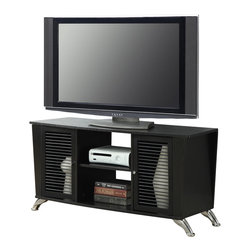 Convenience Concepts - Convenience Concepts Voyager TV Stand X-604151 - The Designs2Go Voyager TV Stand is the perfect addition to spruce up your living room. In a black woodgrain finish that features two cabinets with spindle wood doors, and two open storage compartments. This TV Stand is sure to add a touch of modern class to your home, while providing plenty of space for all of your media needs.