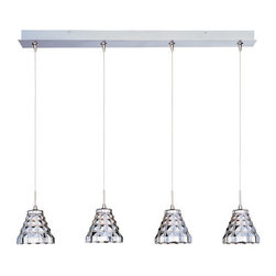 ET2 - ET2 E94901 Geo Collection 4 Light Linear Crystal Shade Foyer Pendant - Bulbs Inc - ET2 E94901 Four Light Linear Crystal Shade Foyer Pendant from the Geo Collection Collection - Bulbs IncludedFeaturing unique translucent faceted crystal shades, the Geo Collection linear four light foyer pendant produces beautiful diffused lighting that will enhance the look of any room.ET2 E94901 Specifications: