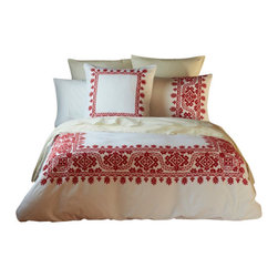 "Coyuchi - Aari Embroidered Duvet Cover Full/Queen White w/Carmine - Lavish hand-guided embroidery frames the bed in texture and color. The intricate pattern of leafy, blooming vines is set against pure white cotton for a look that's festive and fresh. Designed with an 8""interior flap and inside ties. Hidden coconut shell buttons."
