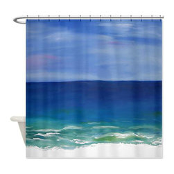 usa - Beach Time Shower Curtian - Beautiful shower curtains created from my original art work. Each curtain is made of a thick water resistant polyester fabric. The permanently applied art work appears on the front side with the inside being white. 12 button holes for easy hanging, machine washable and most importantly made in the USA. Shower rod and rings not included. Size is a standard 70''x70''