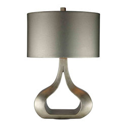 Dimond Lighting - Dimond Lighting D1840 Carolina Silver Table Lamp - Carolina Table Lamp in Silver Leaf with Oval Metallic Silver Faux Leather Shade and Silver Fabric Liner