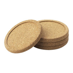 Cork 4pc Coaster Set - 3.75-inch-round sustainably harvested cork coasters. Light and durable. Protect furniture from water and moisture rings. Indentation on top prevents wet glasses from sliding off for extra protection.
