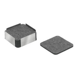 """Felt Coaster Set by Carl Mertens - Six black felt mats lie on top of each other in a square holder made of brushed stainless steel. Available in gray, black and burgundy.>Material - Stainless Steel, Wool FeltSize - 4"""" x 4"""" x 1.5"""""""