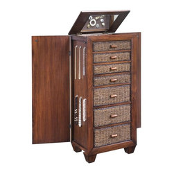 HomeStyles - Lingerie and Jewelry Chest - Hinged top that lifts revealing mirror. Four top drawers that are felt-lined perfect for scarves or jewelry. Bottom three drawers provide ample space for clothing or lingerie. Sides that open to felt-lined compartments with hooks to accommodate jewelry. Made from banana leaves and mahogany hardwoods. Cocoa finish. Made in Indonesia. Assembly required. 22 in. W x 16 in. D x 50 in. HOur island inspired, casual designed Cabana Banana Lingerie-Jewelry Cabinet might just become a girls best friend! Neatly designed into each end is a spring loaded panel that opens revealing additional jewelry storage with six hooks and felt panels to help protect your gems.