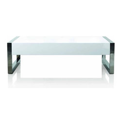 Creative Furniture - Alexis Modern Coffee Table - This simple yet elegant coffee table by Creative Furniture is a fine complement for any occasion. The table comes with durable MDF construction in High Gloss White finish supported by chromed stainless steel legs.