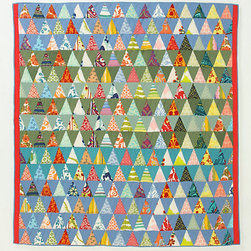 A.P.C. Semiologie Quilt, Colour Triangles - Anthropologie just knows how to make a girl drool. Although this quilt is too nice and pretty to be drooled on! Anthropologie's newest collaboration is with minimalist French fashion mavens at A.P.C. who have hand-quilted snips from Anthro's favorite hothouse quilts and scraps of A.P.C.'s crisp shirting fabrics. No two are exactly alike.