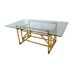 Pre-owned Architectural Bamboo & Brass Dining Table w/Glass - An incredible, dramatic architectural dining table (also suitable for use as a desk) with bamboo & brass base and glass top, in the manner of Gabrielle Crespi. Table is in very good original condition, showing light finish wear to the base, darkened patina to the brass corners, and a few light scratches to the glass top.
