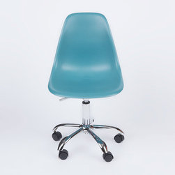 Office Slope Chair in Teal - The Office Slope Chair combines our favorite design with our most-desired office furniture need—a decent chair. It's perfect for adding both function and style to your workplace. The smooth polypropylene seat is perched atop a more traditional office chair base, complete with wheels for rolling back and forth at your desk. The chair is inspired by an iconic design from the mid-century, but updated for today's busy, modern times. Available in a variety of vibrant colors, this chair is sure to spark your next big idea.