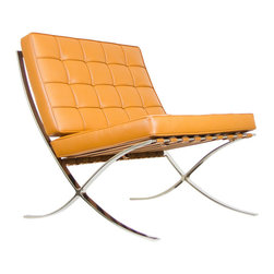 IFN Modern - Barcelona Chair Reproduction - Aniline Leather, Caramel - Our Barcelona chair reproduction was inspired by Mies Van Der Rohe's mid-century furniture. The main source of inspiration for this piece comes from the 1929 German Pavilion where Mies and Lilly Reich showcased a gorgeous chair now known worldwide as the Barcelona Chair.