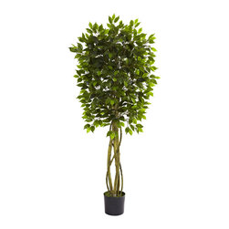 Nearly Natural - Nearly Natural 5.5' Ficus Tree UV Resistant (Indoor/Outdoor) - The ideal home or office decoration is here with this lovely Ficus tree. Standing at a robust five and a half feet tall, it's neither too big, nor too small. The multiple trunks give an interesting effect, while the 800+ leaves bring the forest straight to you. This is an indoor / outdoor piece (UV resistant) and no maintenance required! Makes a great gift, too.