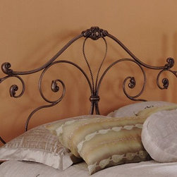 "FBG - Aynsley Headboard Metal Headboard - The whimsical scrollwork of the Aynsley bed gives it a light and airy look. The lyrical sweep of the headboard is the perfect backdrop for your puffiest pillows and softest comforter, a nurturing sanctuary in which you''ll want to spend plenty of time. Features: -Linens and mattress are not included.-Gloss Finish: No.-Frame Material: Steel.-Upholstered: No.-Powder Coated Finish: Yes.-Hardware Material: Metal.-Non Toxic: Yes.-Scratch Resistant: No.-Adjustable Height: No.-Lighting Included: No.-Wall Mounted: No.-Reversible: No.-Hardware Finish: Majestic.-Finished Back: Yes.-Distressed: No.-Hidden Storage: No.-Freestanding: No.-Frame Required: Yes.-Frame Included: No.-Drill Holes for Frame: Yes.-Collection: Aynsley.-Swatch Available: No.-Eco-Friendly: No.-Product Care: Wipe with a clean, damp cloth.-Recycled Content: No.Specifications: -EPP Compliant: No.-CPSIA or CPSC Compliant: Yes.-ASTM Certified: No.-ISTA 3A Certified (Size: Twin): Yes.-ISTA 3A Certified (Size: Queen): Yes.-ISTA 3A Certified (Size: Full): Yes.-General Conformity Certificate: Yes.-Green Guard Certified: No.Dimensions: -Overall Height - Top to Bottom (Size: Twin): 59.375"".-Overall Height - Top to Bottom (Size: Full): 59.375"".-Overall Height - Top to Bottom (Size: Queen): 59.375"".-Overall Height - Top to Bottom (Size: King): 59.375"".-Overall Width - Side to Side (Size: Twin): 39.25"".-Overall Width - Side to Side (Size: Queen): 61.25"".-Overall Width - Side to Side (Size: King): 77.25"".-Overall Width - Side to Side (Size: Full): 54.25"".-Overall Product Weight (Size: Twin): 84 lbs.-Overall Product Weight (Size: Queen): 101 lbs.-Overall Product Weight (Size: King): 109 lbs.-Overall Product Weight (Size: Full): 87 lbs.-Leg Height: 7.5"".-Top of Headboard to Bed Frame: 42.188"".-Bottom of Headboard to Floor: 18"".Assembly: -Assembly Required: Yes.-Tools Needed: Tools included.-Additional Parts Required: No.Warranty: -Covered by 10 year limited manufacturer's warranty."