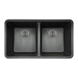 "MR Direct - MR Direct 802 Black TruGranite Double Equal Bowl Kitchen Sink - The TruGranite 802-Black equal double bowl undermount sink is made from a granite composite material that is comprised of 80% Quartzite and 20% Acrylic. Silver ions are added to the sink during the manufacturing process that kill 99% of bacteria on contact.  Aside from being anti-bacterial, the 802-Black is stain and scratch resistant and can resist heat up to 550 degrees. The overall dimensions of the sink are 32 1/2"" x 18 5/8"" x 9 1/2"" and a 33"" minimum cabinet size is required. The sink contains a 3 1/2"" offset drain and is available in multiple colors. As always, our TruGranite sinks are covered under a limited lifetime warranty for as long as you own the sink.  Strainers not included."