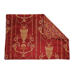 Sherry Kline - Sherry Kline Vase Red Placemats (Set of 4) - Update your kitchen with this beautiful set of Sherry Kline placemats. These Placemats showcase a vase design on the front in a rich color palette with a coordinated circular design backing.