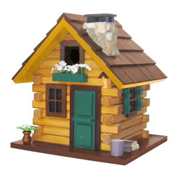 """Home Bazaar Inc. - Country Comfort House - Browns/Green - This style has a lightly stained pine shingled roof, a removable back wall for easy cleaning, a 1 1/4"""" entry hole to an unpainted nest box, ventilation and drainage holes. Features: rustic, log cabin styling with """"hewn"""" timbers stone chimney with chimney cap; forest green front door and window trim; wood pile and chopping block; flower pot; storm shutters; two rear windows; and a matching birdhouse decoration. Comes with a mounting plate that allows easy placement on a wooden 4"""" X 4"""" and an ingenious steel cable to hang the house."""