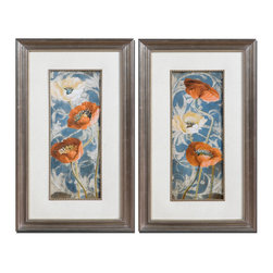 Uttermost - Poppies De Bleu Floral Art Set/2 - Add some pop to your place! This bright pair of floral prints is a pure celebration of nature, set in a simple mat and frame to bring out the vibrant colors.