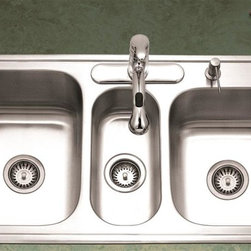 Houzer - Premiere Gourmet Triple Sink - Varying depths and sizes offer maximum multi-tasking. 9 in., 5.5 in., and 8 in. depth. 4 holes. Fits 45 in. cabinets. Mounting clips and 2 basket strainer included. 14 in. x 18 in. x 9 in. , 7.125 in. x 15.75 in. x 5.5 in. , 14 in. x 15.75 in. x 8 in. . Lustrous Satin Finish, Highlighted rim, StoneGuard undercoating over sound absorbing pad. 18 gauge. T304 Premium Stainless Steel. Meets ASME A112.19.3-2000, UPC, CSA.. Faucet and strainer not included. Limited Lifetime Warranty. 41.25 in. W x 22 in. H x 9 in. D. Product Specifications