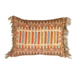 Pillow Decor Ltd. - Pillow Decor - Kilim Rectangle White Pillow - Traditional tribal designs give this Kilim inspired pillow rich texture and liveliness. The earthy color palette is accentuated by hits of red, teal blue and ochre yellow. The soft brown, black and white thread fringe adds the final touch. The central motif is enlivened by a white background. Add tribal charm to any space with this memorable pillow.
