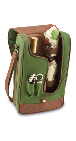 "Picnic Time - Barossa Wine Tote - Pine Green / Nouveau Grape - The Barossa is so sleek and sophisticated, you'll want to take it with you every chance you get. It's made of 600D polyester and features an adjustable shoulder strap that makes it easy to carry and a flat zippered pocket on the exterior flap. The Barossa is fully insulated to keep your wine the perfect temperature and has a divided interior compartment to separate your bottle of wine from the 2 (8 oz.) acrylic wine glasses included. Also included are: 1 stainless steel waiter style corkscrew, 1 bottle stopper (nickel-plated), and 2 napkins (100% cotton, 14 x 14"", Nouveau Grapes). The Barossa wine tote is perfect for picnics, concerts, or travel and makes a wonderful gift for those who enjoy wine. Includes: 1 stainless steel waiter style corkscrew, 1 bottle stopper (nickel-plated), and 2 napkins (100% cotton, 14 x 14"", Nouveau Grapes)"