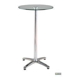 Amber-B - Round Glass Bar Table -