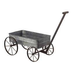 Metal Cart Planter With Handle - *Dimensions: 17.5L x 42W x 10H