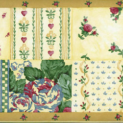 York Wallcoverings - Yellow Pink Roses Wallpaper Border - Wallpaper borders bring color, character and detail to a room with exciting new look for your walls - easier and quicker then ever.