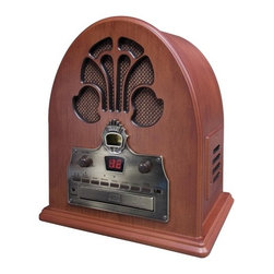 """Crosley - Old-fashioned Cathedral in Paprika CD / Radio - AM / FM Radio Features: -CD player with LED display -AM/FM radio with analog tuner -Dynamic full range speaker -Programmable 20 track memory -Illuminated electronically assisted tuner -External FM antenna -Automatic frequency control -Rotary tone control -Function select -Paprika finish -Overall dimensions: 12.5"""" H x 12"""" W x 7.5"""" D The Cathedral radio, introduced in 1932, is one of the most widely recognized designs of all antique radios. It has quite simply been dubbed the """"Cathedral"""" or is sometimes referred to as the """"Gothic."""" The Cathedral CD features a programmable, front-loading CD player with LED display. It is so much like the original, but with all the bells and whistles of present-day technology."""