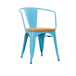 Bistro Arm Chair in Blue - Set of 2 - With a seat made from luxuriously rustic unfinished teak, the highly durable Bistro Armchair boasts grade A sheet metal construction. Equally great for all workplace environments and around the home, this chair has rubber feet to protect your floors and can be stacked up to 8 high for easy storage and mobility.