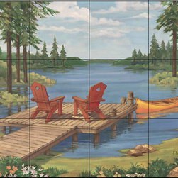 The Tile Mural Store (USA) - Tile Mural - Pb - Lakeside Ii - Kitchen Backsplash Ideas - This beautiful artwork by Paul Brent has been digitally reproduced for tiles and depicts two red chairs on a lake pier.  Waterview tile murals are great as part of your kitchen backsplash tile project or your tub and shower surround bathroom tile project. Water view images on tiles such as tiles with beach scenes and Mediterranean scenes on tiles Tuscan tile scenes add a unique element to your tiling project and are a great kitchen backsplash idea. Use one or two of our landscape tile murals for a wall tile project in any room in your home for your wall tile project.