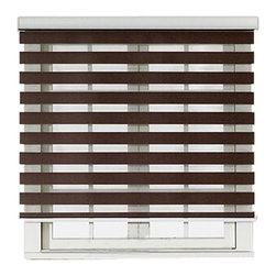 "Blinds-US - Roller Zebra Blind / Light filtering sheer shade, Brown, 64""in W X 72""in L / 162 - Product Description"