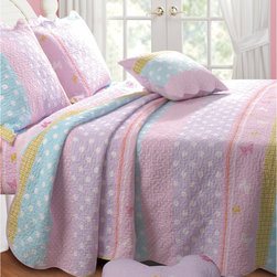 None - Polka Dot Stripe Bonus 5-piece Quilt Set - Create a fresh and relaxing aesthetic in your child's bedroom with this softly-colored polka-dot stripe quilt set. In baby-soft shades of pink, blue, mauve and yellow, and available in twin and queen sizes, this lovely set is fit for a princess.