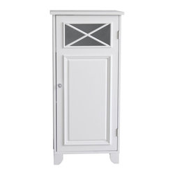 Elegant Home Fashions - Dawson Floor Cabinet With One Door - The Dawson Floor Cabinet with One Door from Elegant Home Fashions comes in a white. This floor cabinet blends old-world and contemporary styling for a charming look that complements any bathroom. The cabinet design offers ample storage. The cabinet features one fixed and one adjustable shelves that are ideal for storing items of different sizes.  The crisscross accent on the door's glass panel and clear knob add a charming touch.  This cabinet comes with assembly hardware.