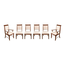 MBW Furniture - Set 6 Solid Mahogany Cream Upholstered Dining Chairs - This beautiful set of 6 solid mahogany dining chairs includes 2 arm chairs and 4 side chairs. These are high quality, well made chairs. The deep rich mahogany color has distinct red tones. The chairs are very comfortable and their upholstered seats and backs feature a lovely woven cream fabric. The crown features a braided carving atop the upholstery. The legs are supported by stretchers front to back. These chairs have clean and simple lines that will fit in with both the contemporary or more traditional dining room. These chairs are showroom models and may have some minor imperfections but as shown they are overall in very good condition. They are shipped assembled.