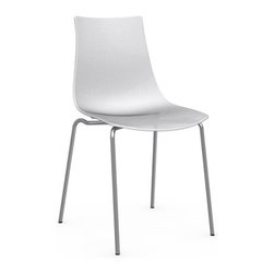 Calligaris - ICE Chair, Chrome Frame, Glossy Optic White, Set of 2 - Aptly named, this chair will give you shivers of delight. Its translucent shell has a subtle textured pattern that's seen in just the right light. Pick a neutral gray or white, or turn it up a notch with a shock of red.