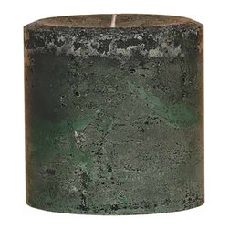 "Oddity - Oddity 4""x 4"" Weathered Pillar Candle - Woodland - The wider width of these weathered pillar candles make a statement when standing alone or grouped with other sized candles. The colors and scents of our 4"" x 4"" pillars perfectly match our original 3"" candles so you can coordinate your homes decor."