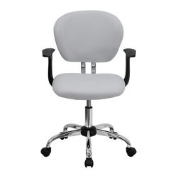 Flash Furniture - Flash Furniture Office Chairs Mesh Task Chairs X-GG-SMRA-THW-F-6732-H - This value priced mesh task chair will accommodate your essential needs for your home or office space. This chair will add a contemporary look to your work space. Chair features a breathable mesh material with a comfortably padded seat. [H-2376-F-WHT-ARMS-GG]