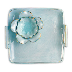 Ceramic Chip and Dip Set - Aqua Luxe - Manage your appetizers and snacks with stylish aplomb when you use the Aqua Luxe Chip and Dip to serve cocktail-party snacks and bridal-shower temptations.  A square platter with spacious, convenient handles set high on either side, the chip tray is accented with an exquisite flower bowl surrounded by modeled ceramic petals.  A rich, cool aqua glaze sets a tone of luxury.