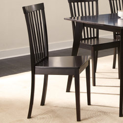 """Coaster - Ludwin Side Chair, Cappuccino - Set of 2 - This rectangular dining table is crafted from selected hardwoods and veneers in a rich cappuccino finish. Suited for hosting casual or formal events, this table can accommodate up to six persons. The simplicity of its design accentuates the table's rich finish and candid appeal. To complete the look, pair this table with the slat back side chair from the same collection.; Casual Style; Cappuccino Finish; Dimensions: 20.50""""L x 17.25""""W x 37""""H"""