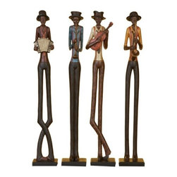 Benzara - Set of 4 Jazz Band Musician Bust Statue Sculpture - Set of 4 Jazz Band Musician Bust Statue Sculpture. Jazz band Statues are hand carved in cold cast poly resin in different color composition with rustic finish. Each Statue is 24 inches tall x 4 inch wide.