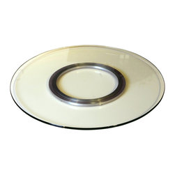 """Chintaly Imports - Chintaly Imports 24"""" Round Glass Lazy Susan in Black, White, Clear, & Crackled, - Condition : Brand New"""