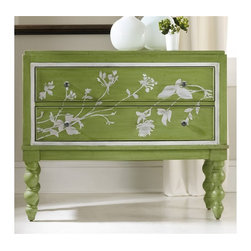 Hooker Furniture - Melange Spring Garden Chest - White glove, in-home delivery!  For this item, additional shipping fee will apply.  Celebrate the best and brightest of nature with the handpainted Spring Garden Chest.  Two drawers.  Bubbled glass knobs.