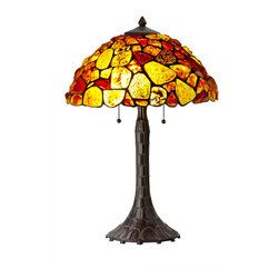 CAL Lighting - Cal Lighting BO-2403TB Hand Crafted Natural Cobble Genuine Gem Stone Table Lamp - CAL Lighting BO-2403TB Hand crafted natural cobble genuine gem stone table lamp