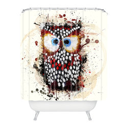 DENY Designs - Msimioni The Owl Shower Curtain - Who says bathrooms can't be fun? To get the most bang for your buck, start with an artistic, inventive shower curtain. We've got endless options that will really make your bathroom pop. Heck, your guests may start spending a little extra time in there because of it!
