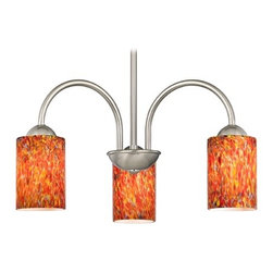 Design Classics Lighting - Chandelier with Art Glass in Satin Nickel Finish - 592-09 GL1012C - Transitional satin nickel 3-light chandelier with cylinder multi-colored art glass shades. Takes (3) 100-watt incandescent A19 bulb(s). Bulb(s) sold separately. UL listed. Dry location rated.