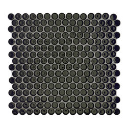 Somertile - SomerTile 12.25x12-in Penny 3/4-in Black Porcelain Mosaic Tile (Pack of 10) - Update the look of your living space with this set of glazed porcelain mosaic tiles. It features a design based loosely on pennies. With a shiny black finish on each circle,these 10 tiles give the area a modern look that is very crisp.